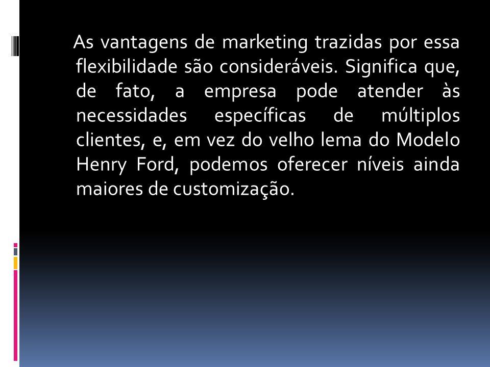 As vantagens de marketing trazidas por essa flexibilidade são consideráveis.