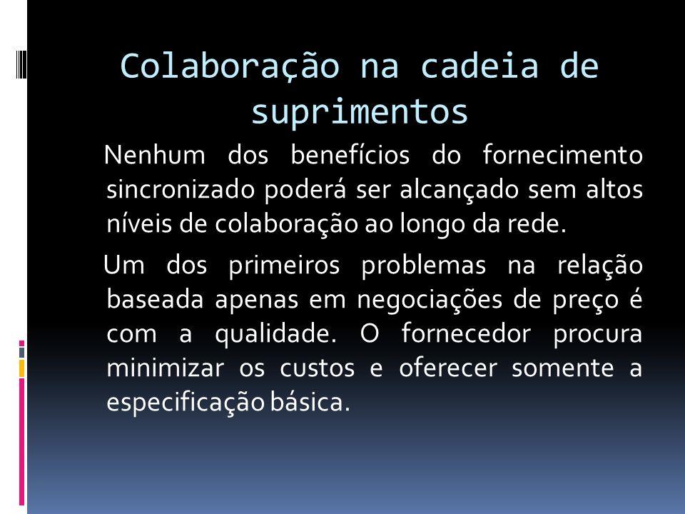 Colaboração na cadeia de suprimentos Nenhum dos benefícios do fornecimento sincronizado poderá ser alcançado sem altos níveis de colaboração ao longo da rede.