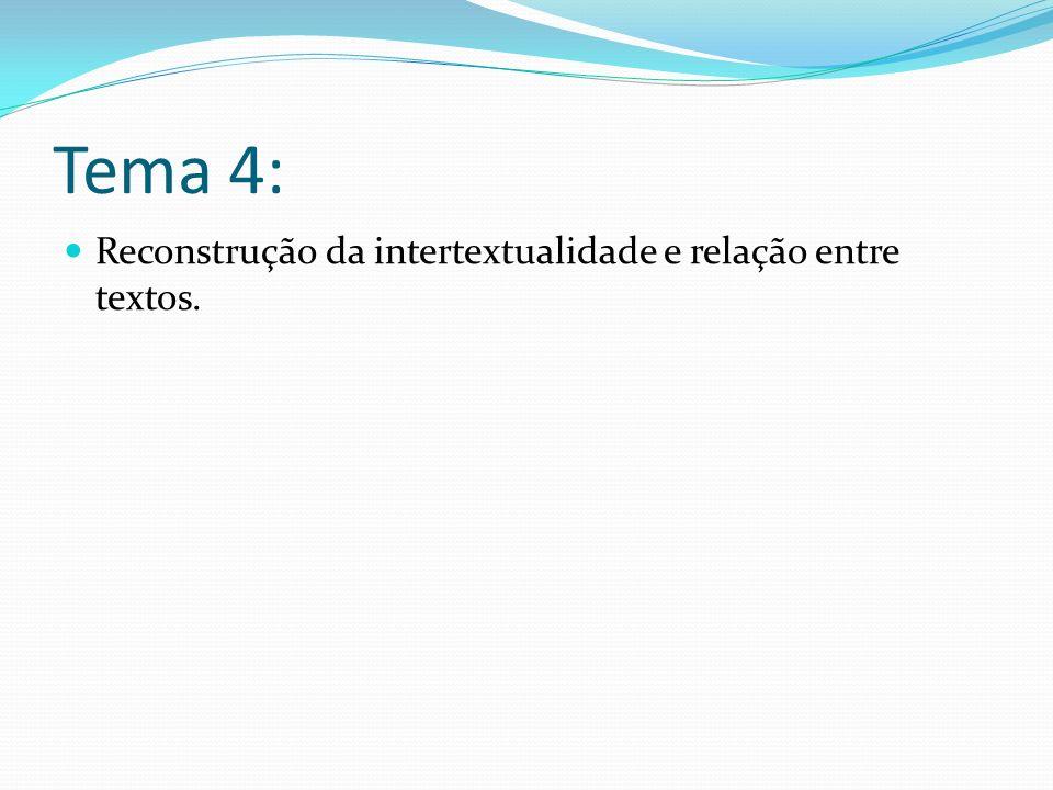 Tema 4: Reconstrução da intertextualidade e relação entre textos.