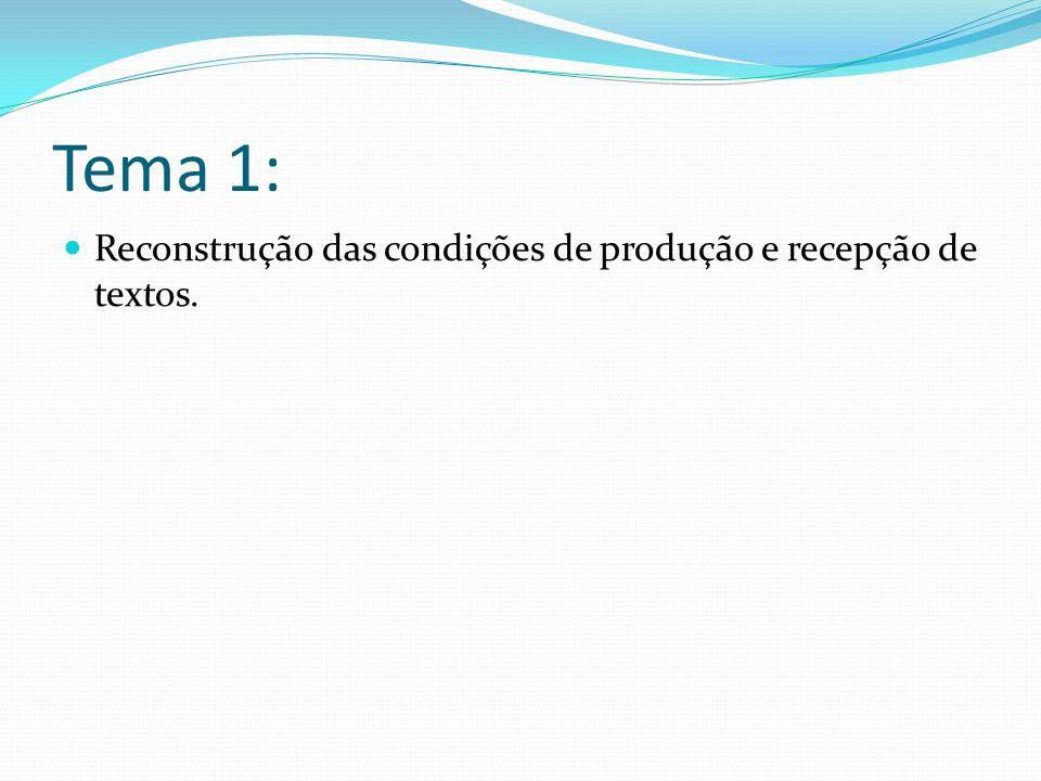 Tema 1: Reconstrução das condições de produção e recepção de textos.