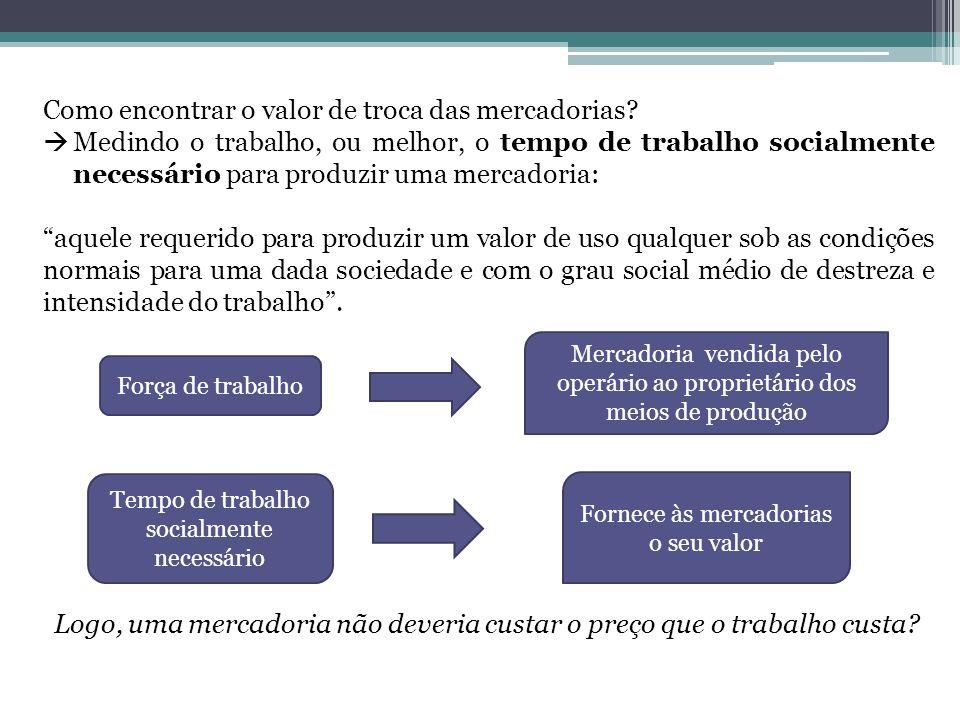 Como encontrar o valor de troca das mercadorias? Medindo o trabalho, ou melhor, o tempo de trabalho socialmente necessário para produzir uma mercadori