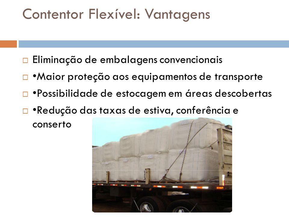 Contentor Flexível: Vantagens Eliminação de embalagens convencionais Maior proteção aos equipamentos de transporte Possibilidade de estocagem em áreas descobertas Redução das taxas de estiva, conferência e conserto
