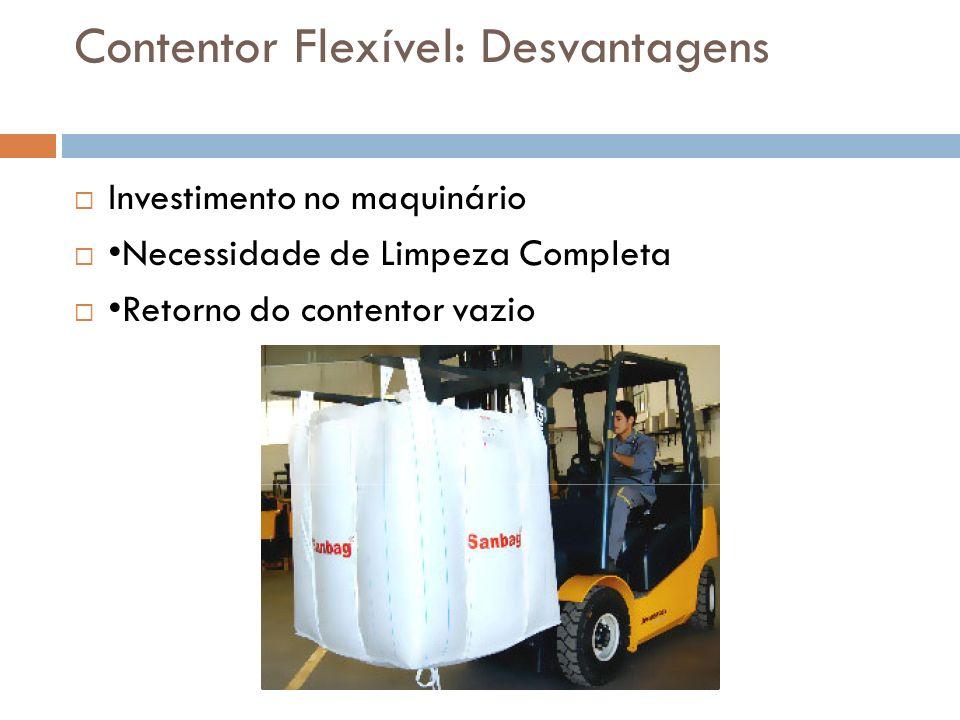 Contentor Flexível: Desvantagens Investimento no maquinário Necessidade de Limpeza Completa Retorno do contentor vazio