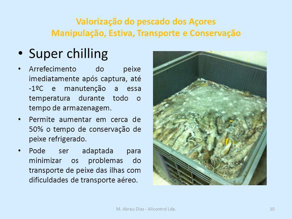 Valorização do pescado dos Açores Manipulação, Estiva, Transporte e Conservação 10M. Abreu Dias - Alicontrol Lda. Super chilling Arrefecimento do peix