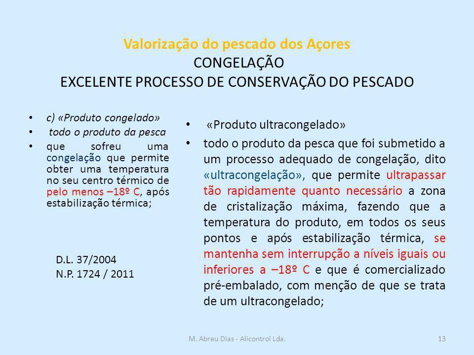 Valorização do pescado dos Açores CONGELAÇÃO EXCELENTE PROCESSO DE CONSERVAÇÃO DO PESCADO c) «Produto congelado» todo o produto da pesca que sofreu um