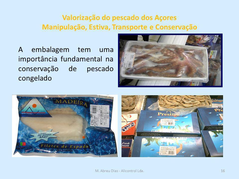 Valorização do pescado dos Açores Manipulação, Estiva, Transporte e Conservação A embalagem tem uma importância fundamental na conservação de pescado congelado 16M.