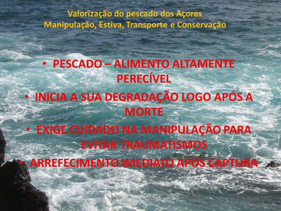 Valorização do pescado dos Açores Manipulação, Estiva, Transporte e Conservação PESCADO – ALIMENTO ALTAMENTE PERECÍVEL INICIA A SUA DEGRADAÇÃO LOGO APÓS A MORTE EXIGE CUIDADO NA MANIPULAÇÃO PARA EVITAR TRAUMATISMOS ARREFECIMENTO IMEDIATO APÓS CAPTURA 2M.