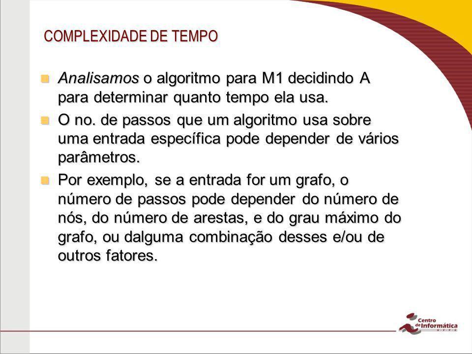 COMPLEXIDADE DE TEMPO Por simplicidade computamos o tempo de execução de um algoritmo como uma função do comprimento da cadeia de entrada e não consideramos quaisquer outros parâmetros.