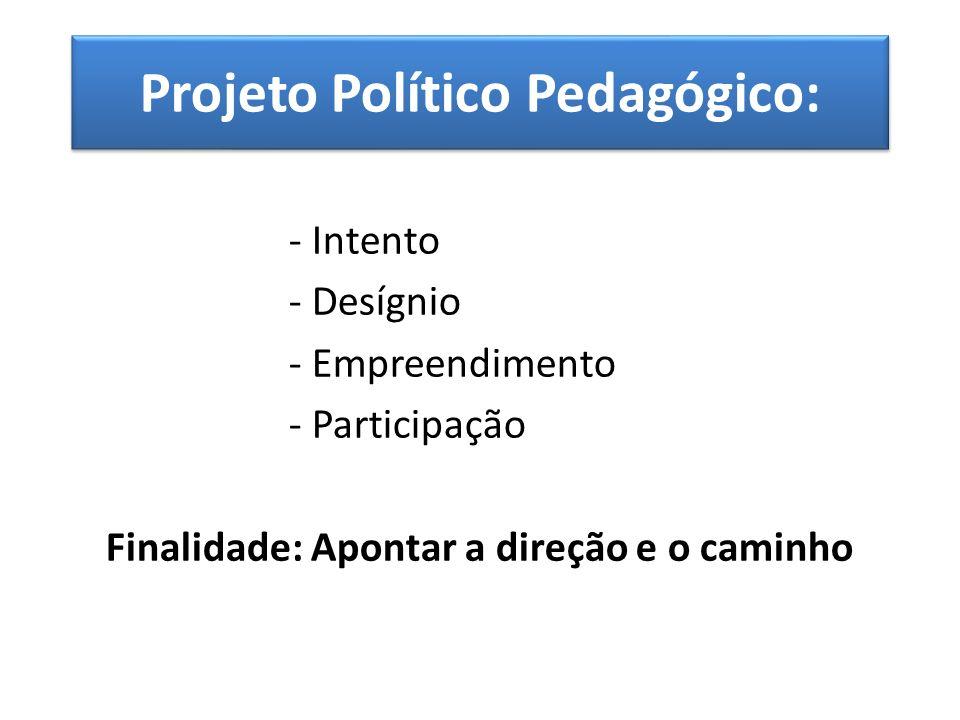 Projeto Político Pedagógico: - Intento - Desígnio - Empreendimento - Participação Finalidade: Apontar a direção e o caminho
