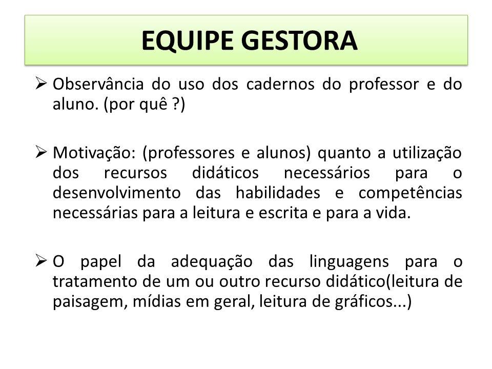 EQUIPE GESTORA Observância do uso dos cadernos do professor e do aluno.