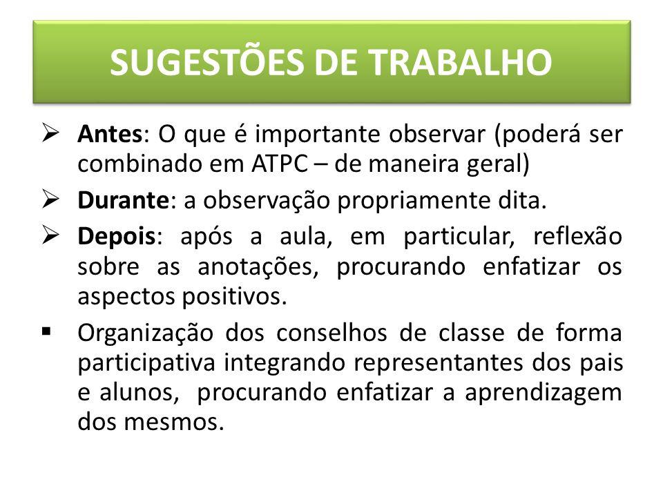 SUGESTÕES DE TRABALHO Antes: O que é importante observar (poderá ser combinado em ATPC – de maneira geral) Durante: a observação propriamente dita.