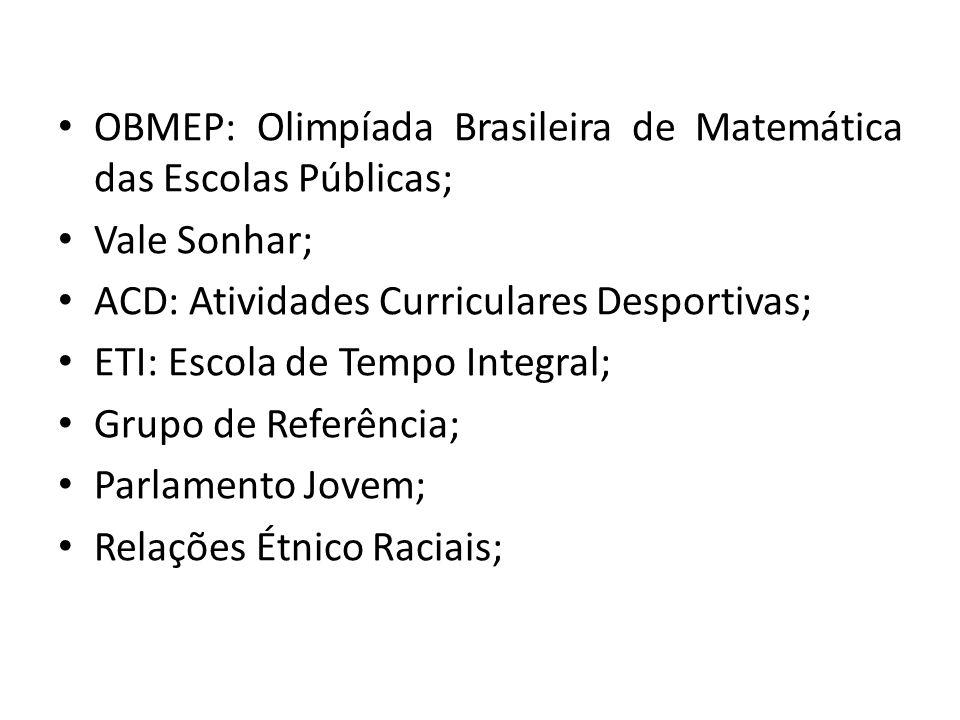 OBMEP: Olimpíada Brasileira de Matemática das Escolas Públicas; Vale Sonhar; ACD: Atividades Curriculares Desportivas; ETI: Escola de Tempo Integral; Grupo de Referência; Parlamento Jovem; Relações Étnico Raciais;