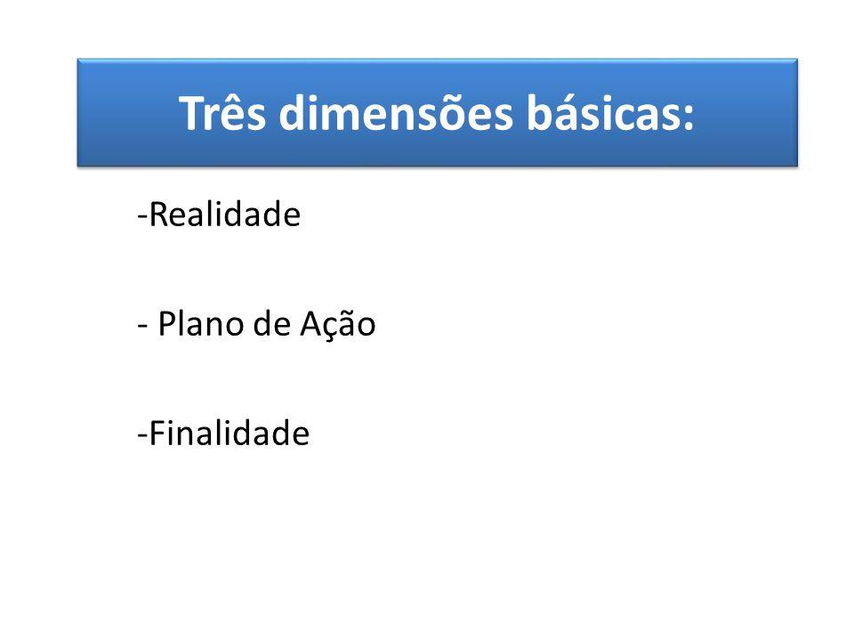 Três dimensões básicas: -Realidade - Plano de Ação -Finalidade
