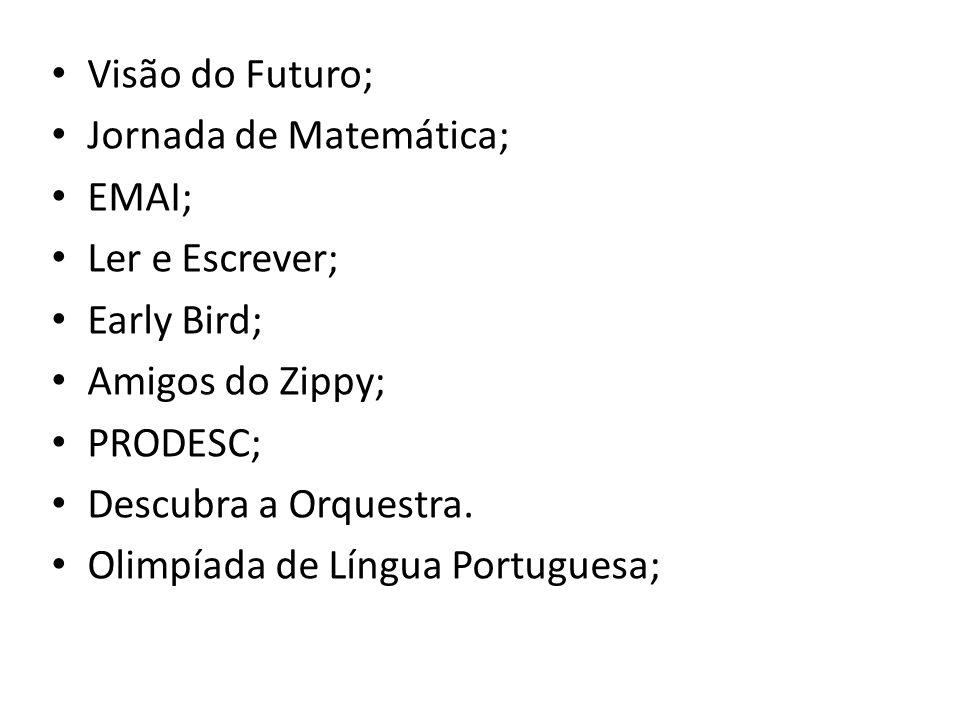 Visão do Futuro; Jornada de Matemática; EMAI; Ler e Escrever; Early Bird; Amigos do Zippy; PRODESC; Descubra a Orquestra.