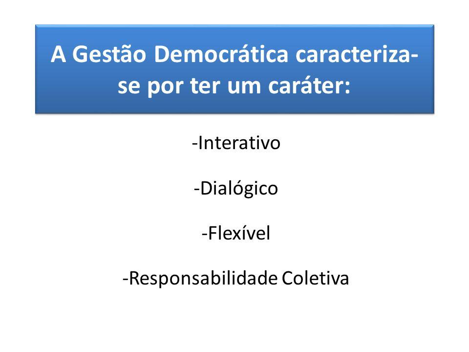 A Gestão Democrática caracteriza- se por ter um caráter: -Interativo -Dialógico -Flexível -Responsabilidade Coletiva