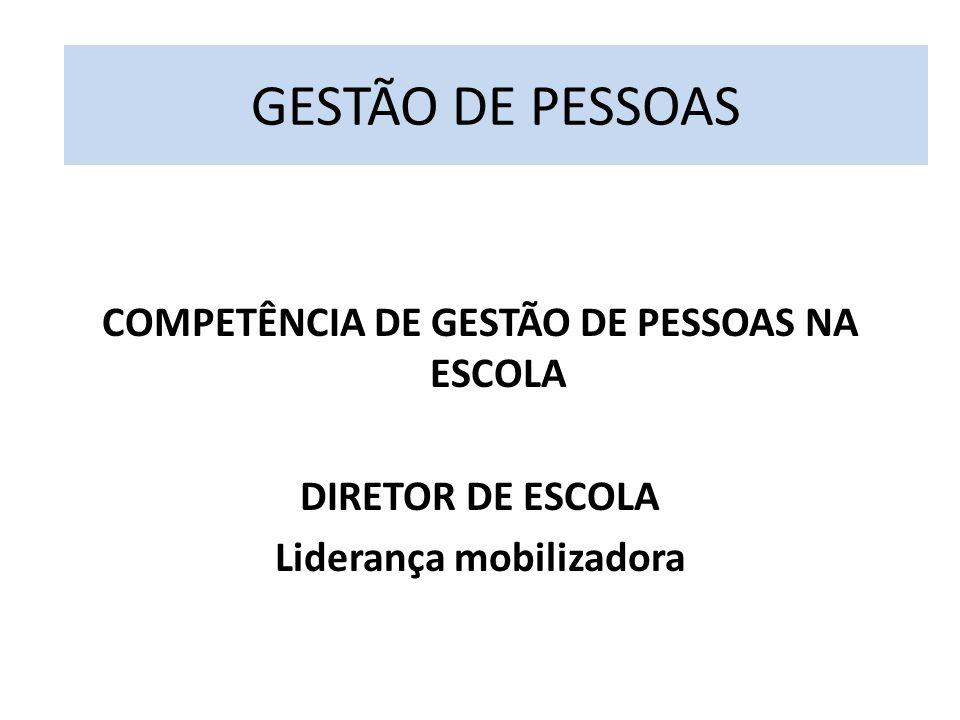 COMPETÊNCIA DE GESTÃO DE PESSOAS NA ESCOLA DIRETOR DE ESCOLA Liderança mobilizadora GESTÃO DE PESSOAS