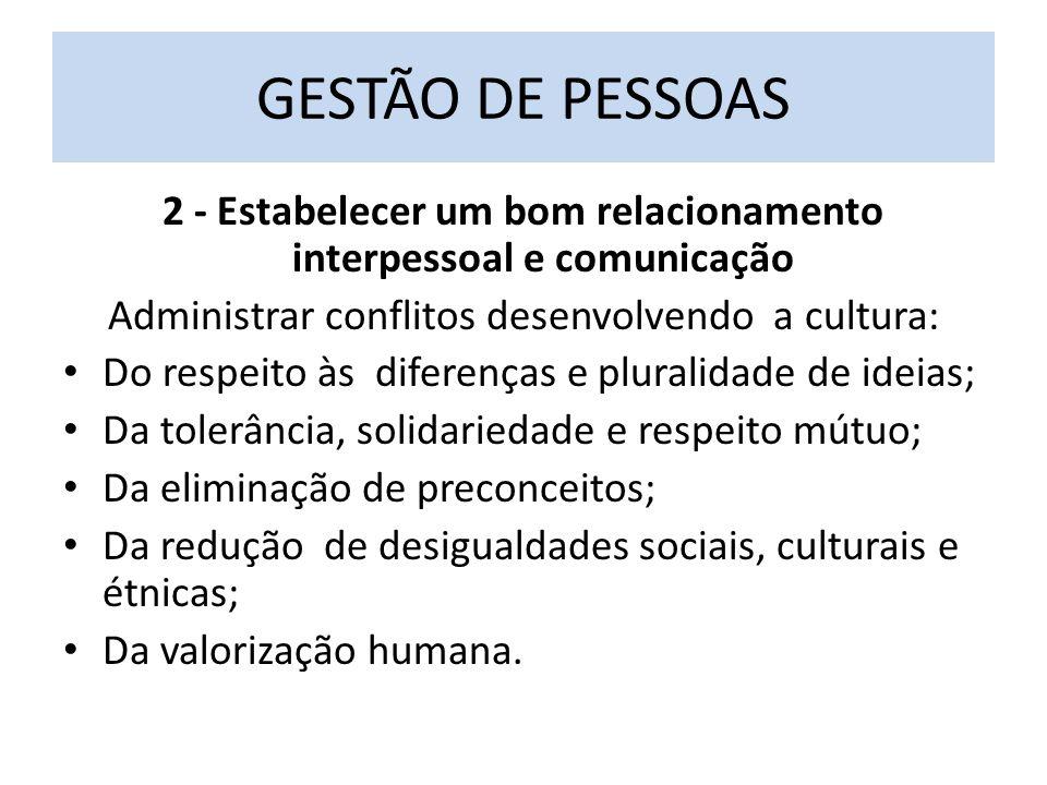 2 - Estabelecer um bom relacionamento interpessoal e comunicação Administrar conflitos desenvolvendo a cultura: Do respeito às diferenças e pluralidade de ideias; Da tolerância, solidariedade e respeito mútuo; Da eliminação de preconceitos; Da redução de desigualdades sociais, culturais e étnicas; Da valorização humana.