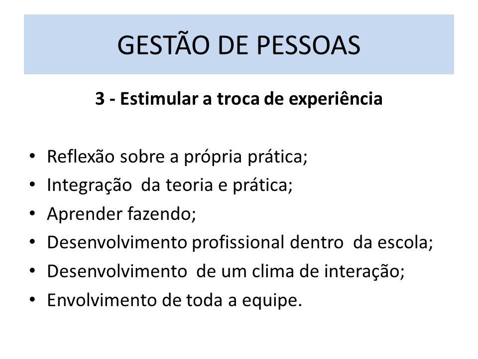 3 - Estimular a troca de experiência Reflexão sobre a própria prática; Integração da teoria e prática; Aprender fazendo; Desenvolvimento profissional dentro da escola; Desenvolvimento de um clima de interação; Envolvimento de toda a equipe.