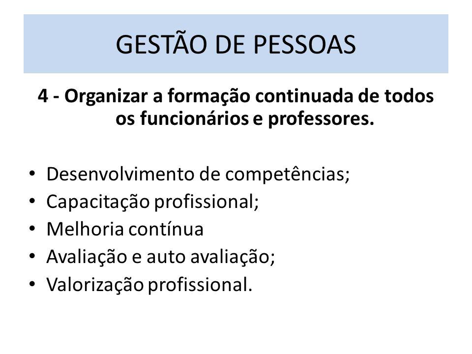 4 - Organizar a formação continuada de todos os funcionários e professores.