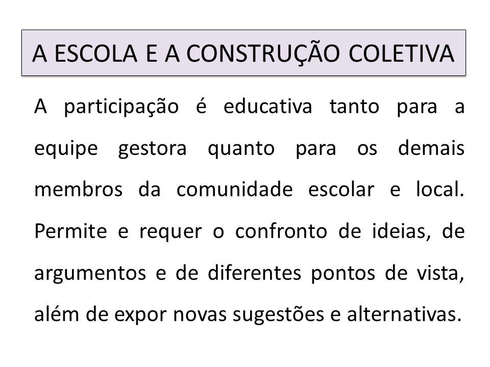 A ESCOLA E A CONSTRUÇÃO COLETIVA A participação é educativa tanto para a equipe gestora quanto para os demais membros da comunidade escolar e local.