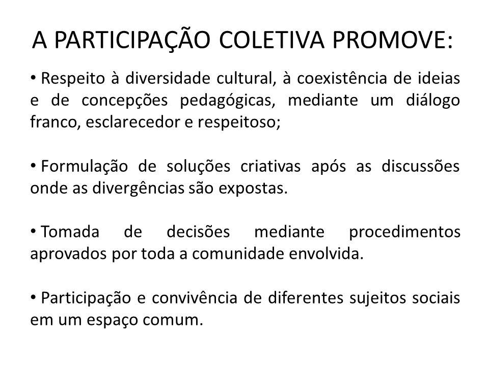 A PARTICIPAÇÃO COLETIVA PROMOVE: Respeito à diversidade cultural, à coexistência de ideias e de concepções pedagógicas, mediante um diálogo franco, esclarecedor e respeitoso; Formulação de soluções criativas após as discussões onde as divergências são expostas.