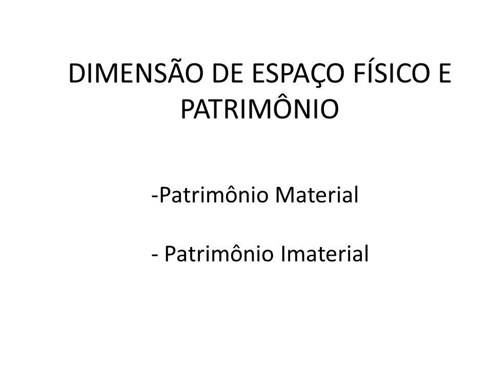 DIMENSÃO DE ESPAÇO FÍSICO E PATRIMÔNIO -Patrimônio Material - Patrimônio Imaterial