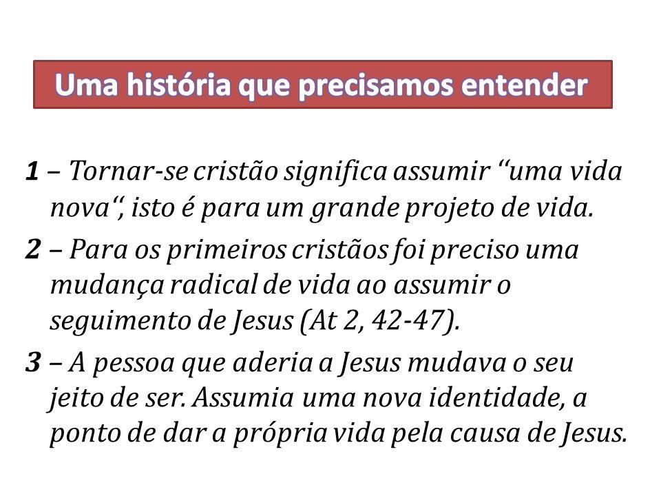 1 – Tornar-se cristão significa assumir uma vida nova, isto é para um grande projeto de vida.