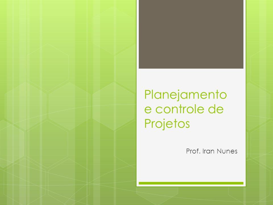 Planejamento e controle de Projetos Prof. Iran Nunes
