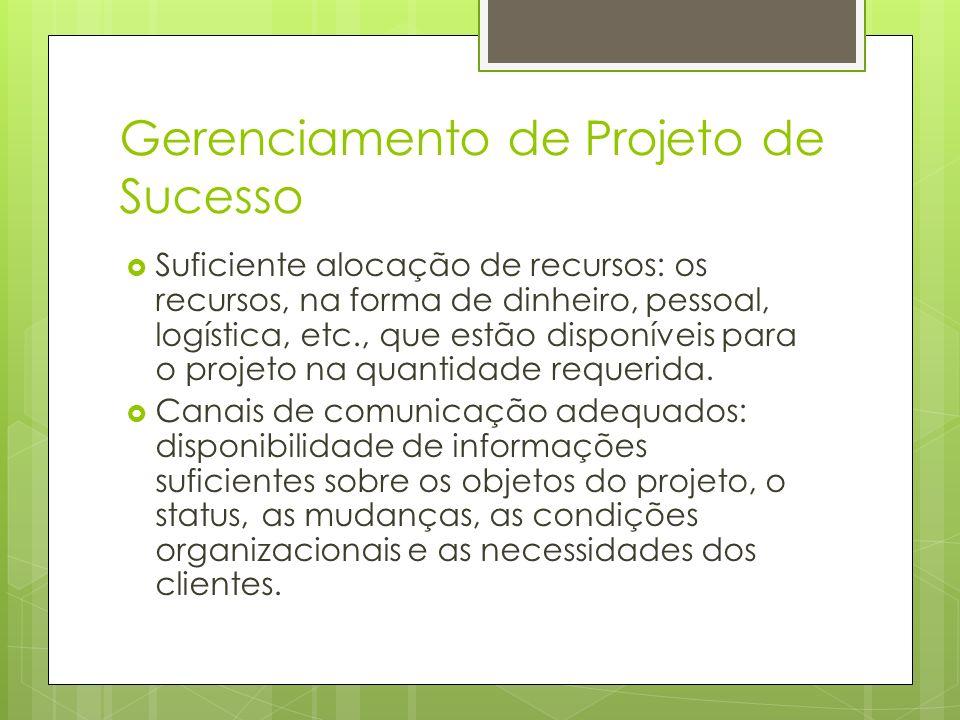 Gerenciamento de Projeto de Sucesso Suficiente alocação de recursos: os recursos, na forma de dinheiro, pessoal, logística, etc., que estão disponívei