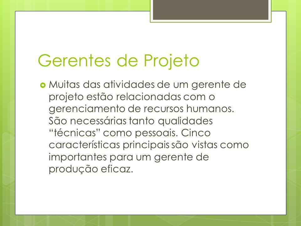 Gerentes de Projeto Muitas das atividades de um gerente de projeto estão relacionadas com o gerenciamento de recursos humanos. São necessárias tanto q