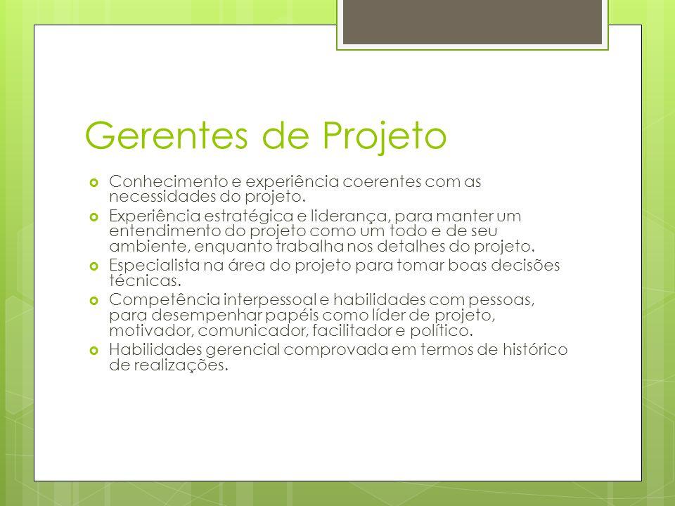Gerentes de Projeto Conhecimento e experiência coerentes com as necessidades do projeto. Experiência estratégica e liderança, para manter um entendime