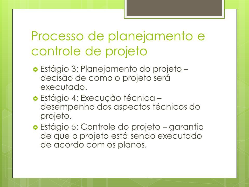 Processo de planejamento e controle de projeto Estágio 3: Planejamento do projeto – decisão de como o projeto será executado. Estágio 4: Execução técn