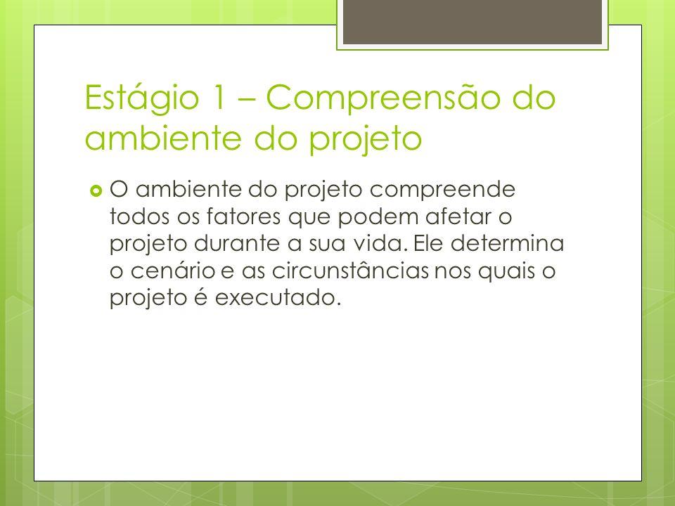 Estágio 1 – Compreensão do ambiente do projeto O ambiente do projeto compreende todos os fatores que podem afetar o projeto durante a sua vida. Ele de