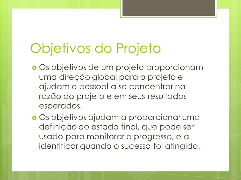 Objetivos do Projeto Os objetivos de um projeto proporcionam uma direção global para o projeto e ajudam o pessoal a se concentrar na razão do projeto