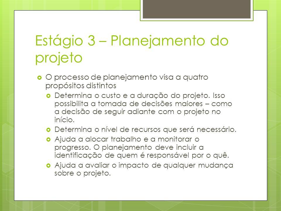 Estágio 3 – Planejamento do projeto O processo de planejamento visa a quatro propósitos distintos Determina o custo e a duração do projeto. Isso possi