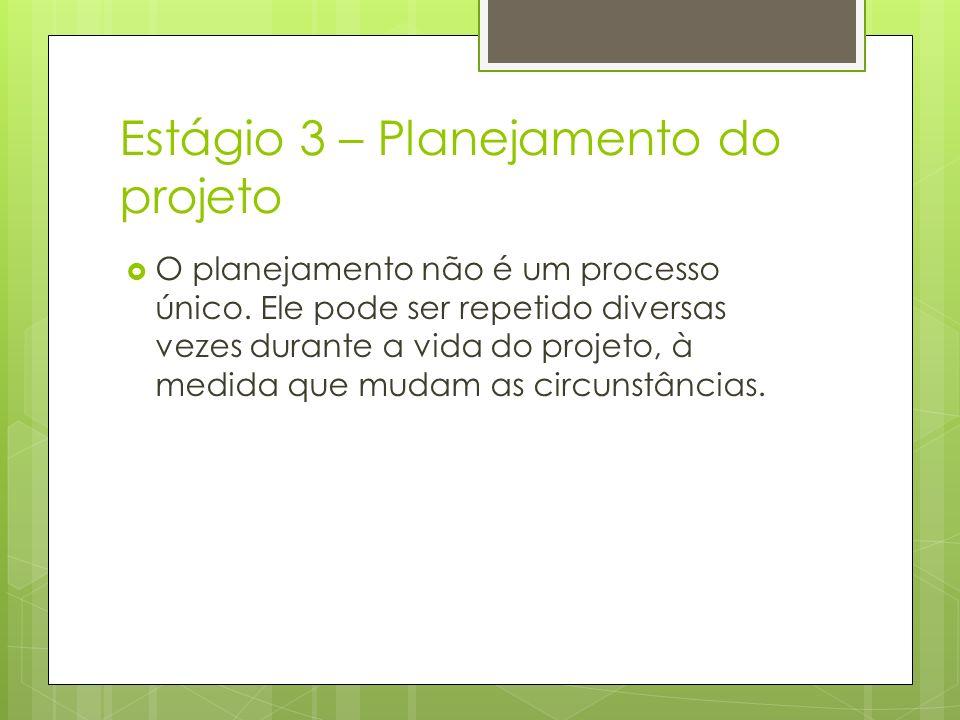 Estágio 3 – Planejamento do projeto O planejamento não é um processo único. Ele pode ser repetido diversas vezes durante a vida do projeto, à medida q