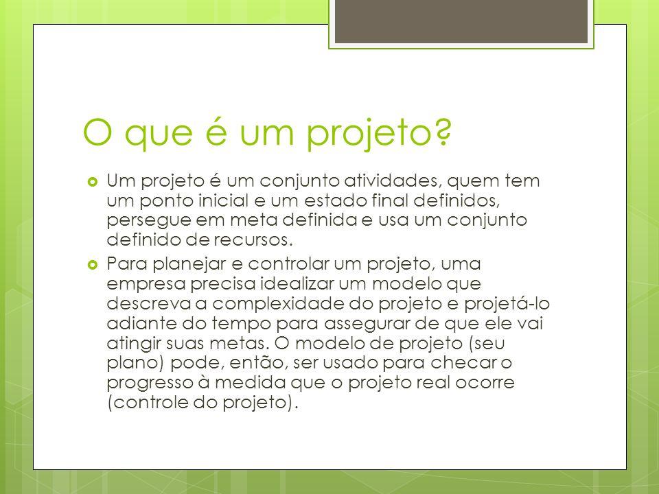 O que é um projeto? Um projeto é um conjunto atividades, quem tem um ponto inicial e um estado final definidos, persegue em meta definida e usa um con