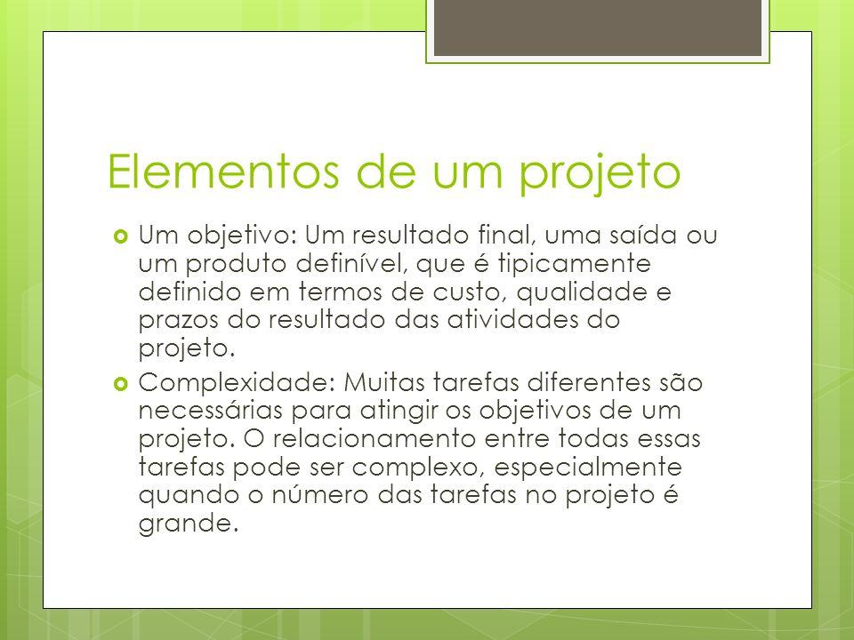 Elementos de um projeto Um objetivo: Um resultado final, uma saída ou um produto definível, que é tipicamente definido em termos de custo, qualidade e