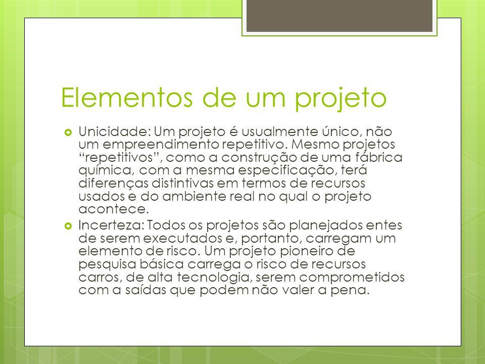 Elementos de um projeto Unicidade: Um projeto é usualmente único, não um empreendimento repetitivo. Mesmo projetos repetitivos, como a construção de u