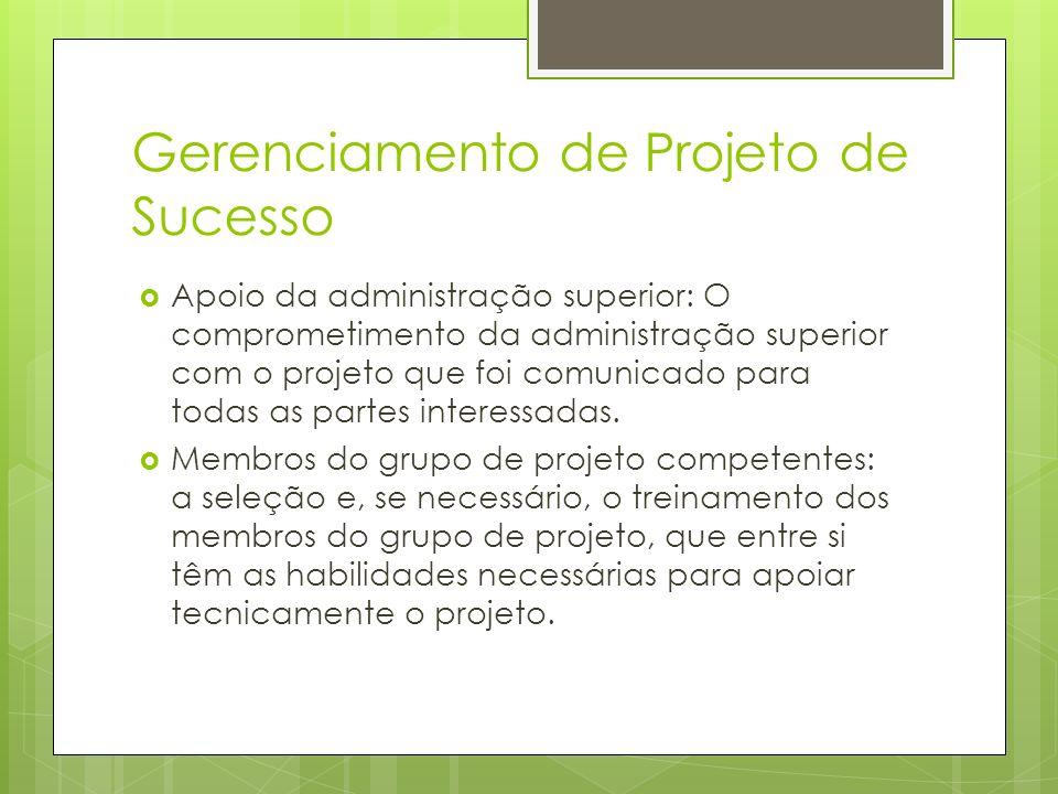Gerenciamento de Projeto de Sucesso Apoio da administração superior: O comprometimento da administração superior com o projeto que foi comunicado para