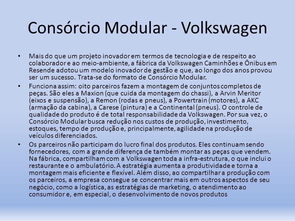 Consórcio Modular - Volkswagen Mais do que um projeto inovador em termos de tecnologia e de respeito ao colaborador e ao meio-ambiente, a fábrica da V