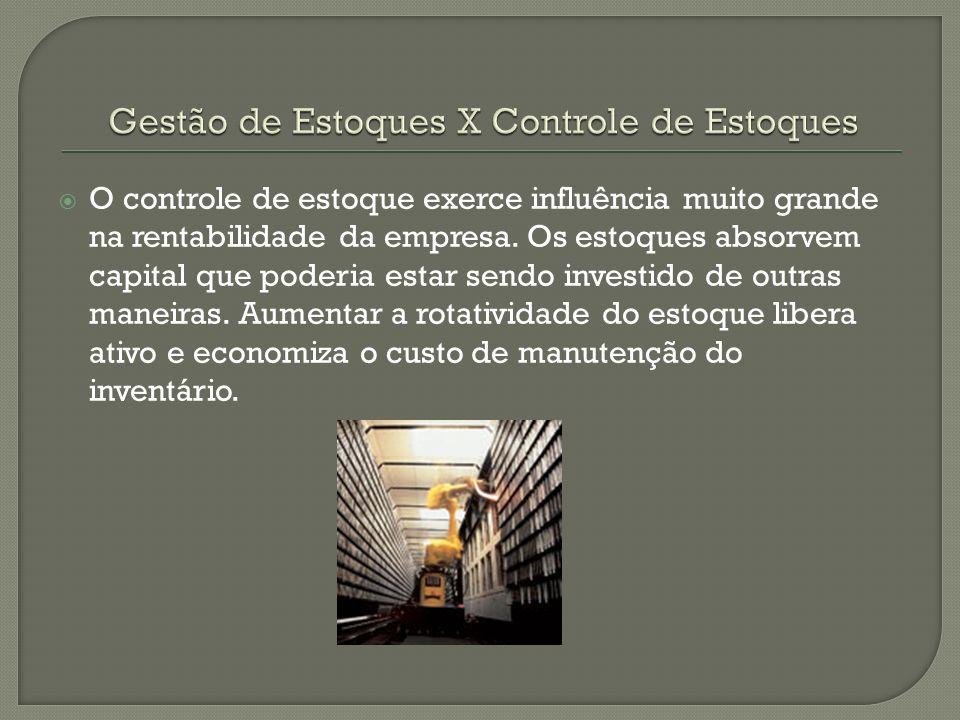 O controle de estoque exerce influência muito grande na rentabilidade da empresa.