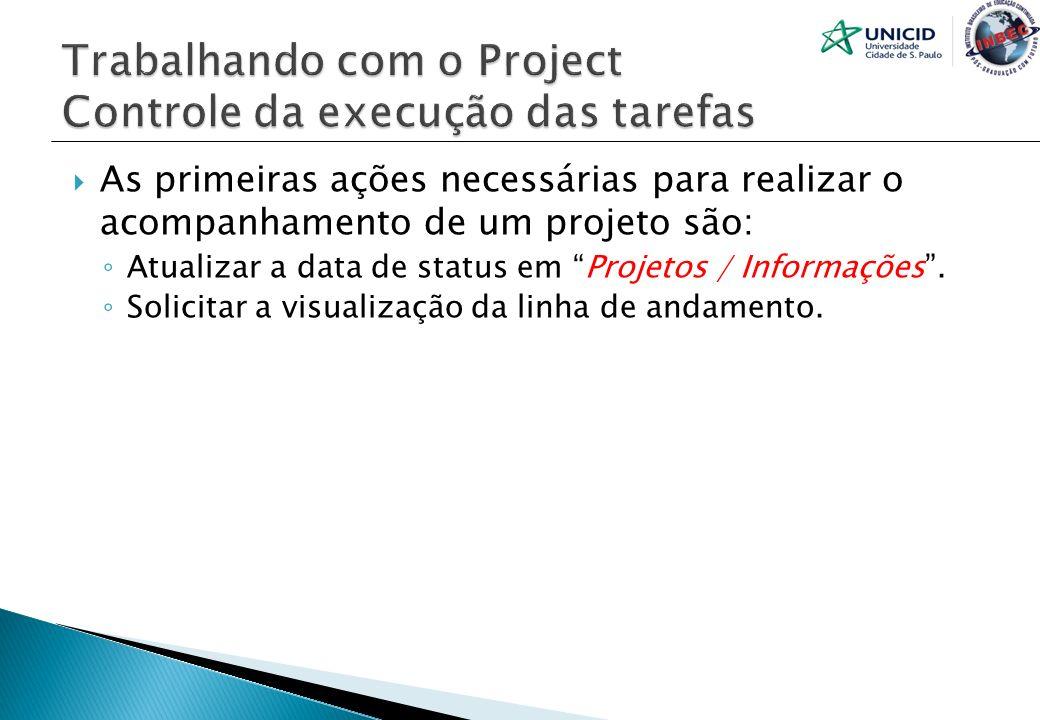 As primeiras ações necessárias para realizar o acompanhamento de um projeto são: Atualizar a data de status em Projetos / Informações. Solicitar a vis