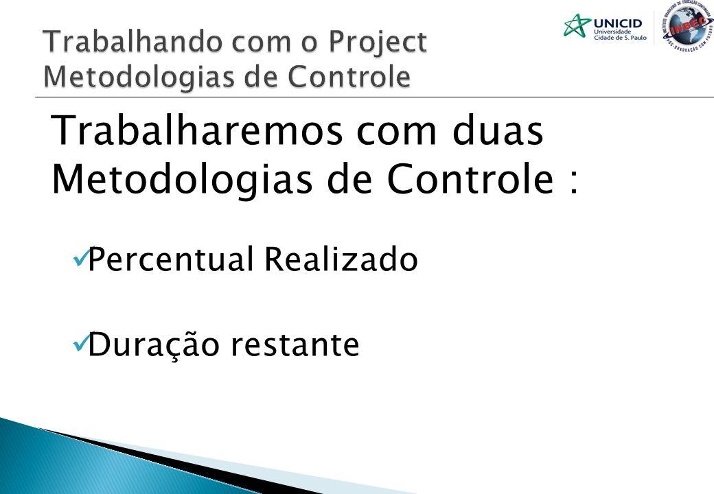 Trabalharemos com duas Metodologias de Controle : Percentual Realizado Duração restante