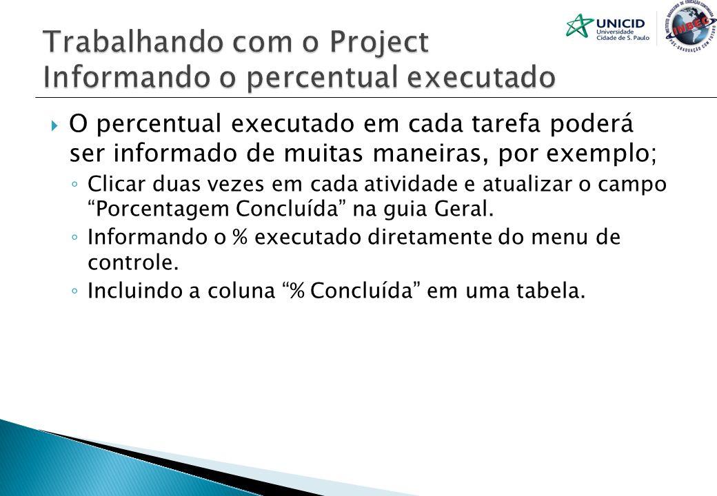 O percentual executado em cada tarefa poderá ser informado de muitas maneiras, por exemplo; Clicar duas vezes em cada atividade e atualizar o campo Po