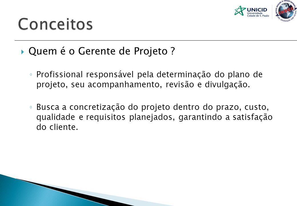 Quem é o Gerente de Projeto ? Profissional responsável pela determinação do plano de projeto, seu acompanhamento, revisão e divulgação. Busca a concre