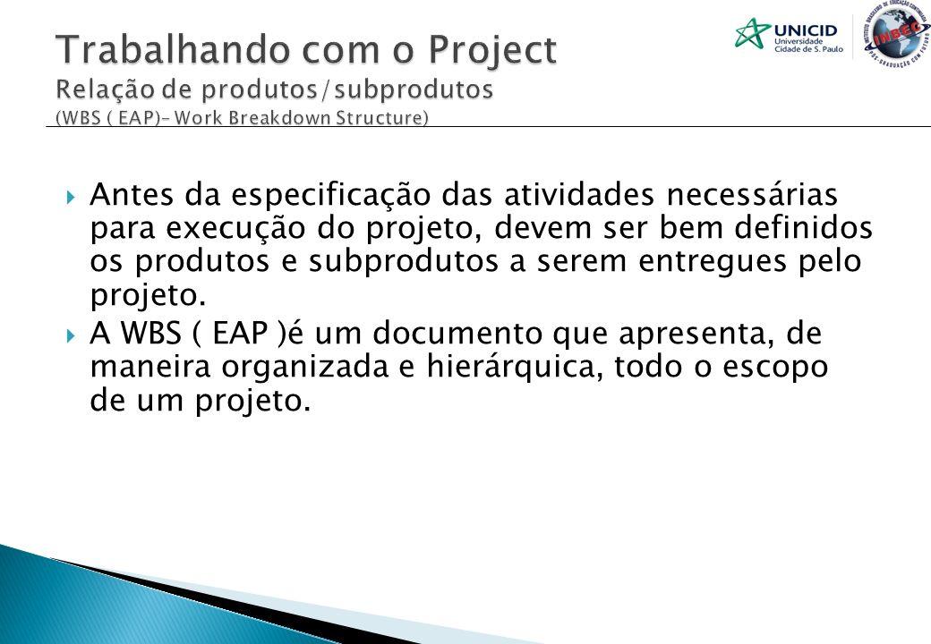 Antes da especificação das atividades necessárias para execução do projeto, devem ser bem definidos os produtos e subprodutos a serem entregues pelo p
