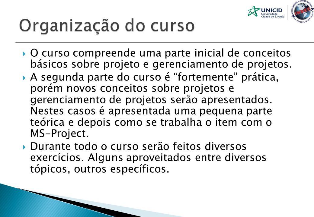 O curso compreende uma parte inicial de conceitos básicos sobre projeto e gerenciamento de projetos. A segunda parte do curso é fortemente prática, po