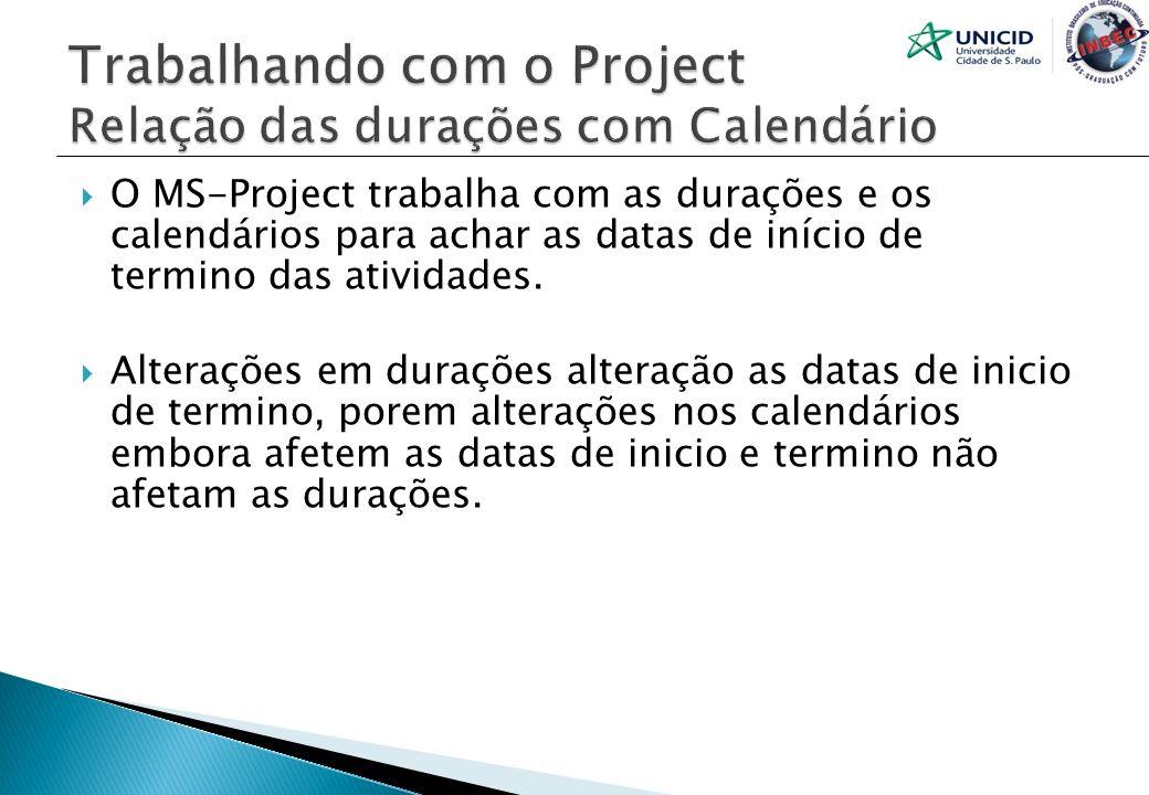 O MS-Project trabalha com as durações e os calendários para achar as datas de início de termino das atividades. Alterações em durações alteração as da