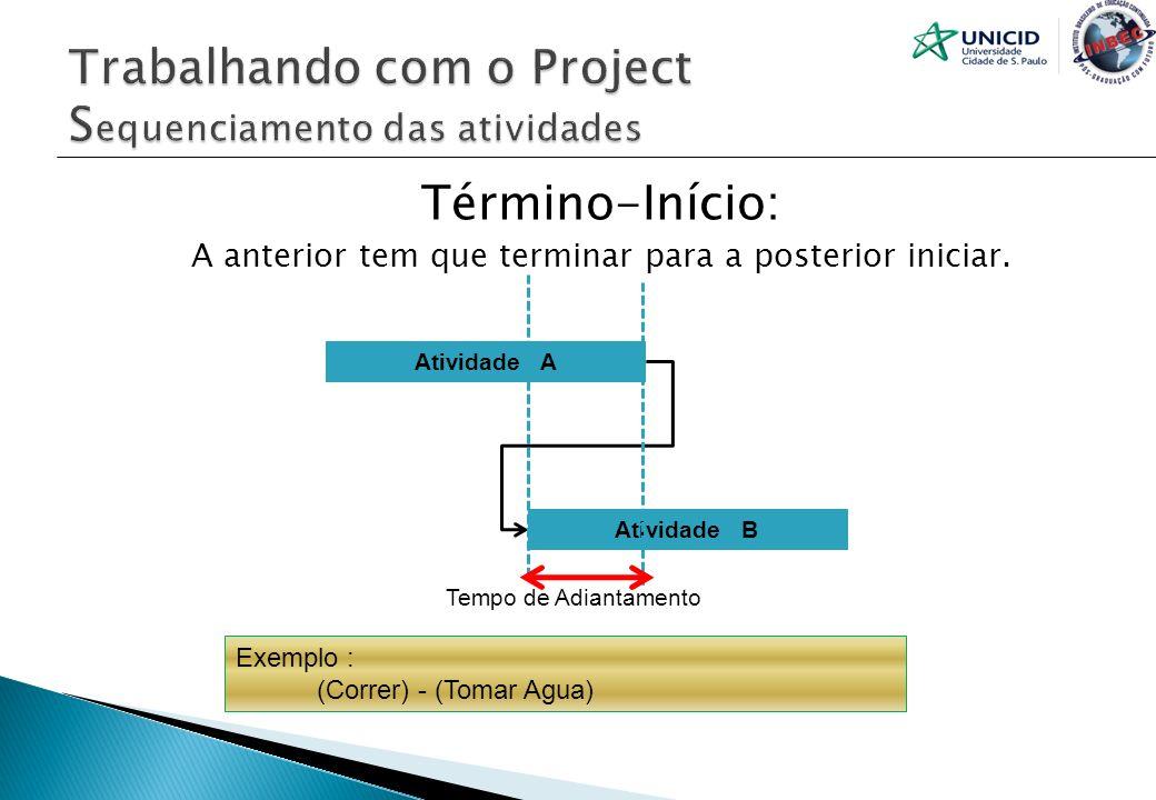 Término-Início: A anterior tem que terminar para a posterior iniciar. Atividade A Atividade B Tempo de Adiantamento Exemplo : (Correr) - (Tomar Agua)